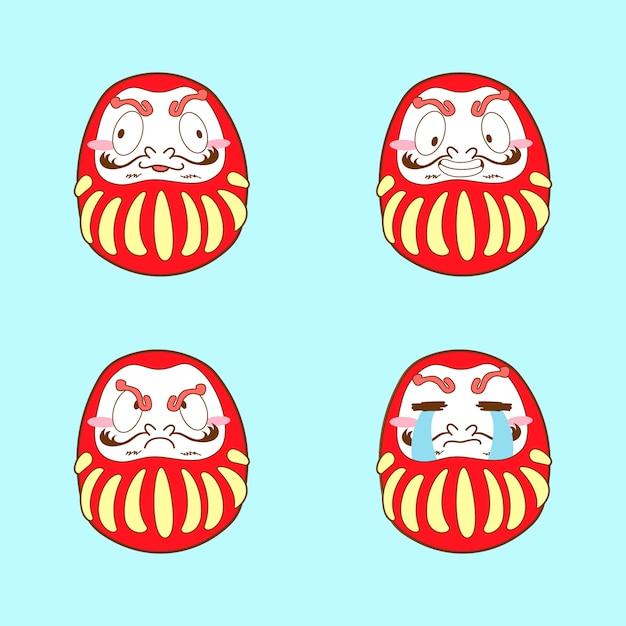 Japan niedlich dakuma emoji vektor festgelegt Premium Vektoren