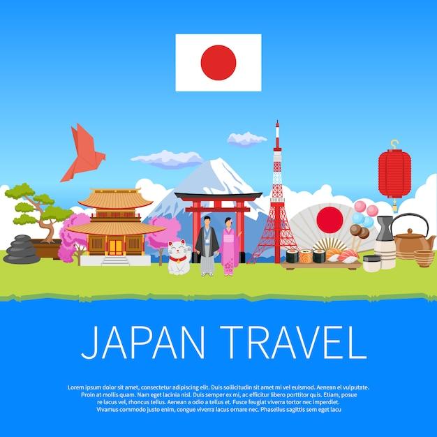 Japan-reise-flaches zusammensetzungs-anzeigen-plakat Kostenlosen Vektoren