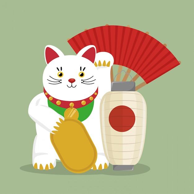 Japan-reise mit glücklichem katzenfan des symbols Kostenlosen Vektoren