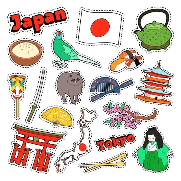 Japan reiseelemente mit architektur und sushi. vektor-gekritzel Premium Vektoren