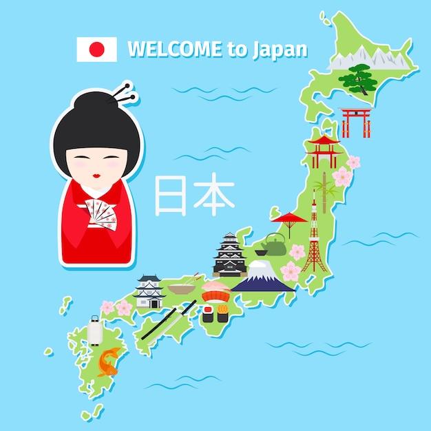 Japan reisekarte Premium Vektoren