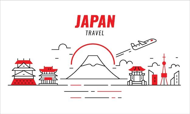 Japan-reisekonzept. flugzeug fliegen und japan. dünne liniengestaltungselemente. vektor-illustration Premium Vektoren