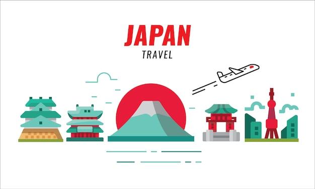 Japan-reisekonzept. flugzeug fliegen und japan. flache designelemente. vektor-illustration Premium Vektoren