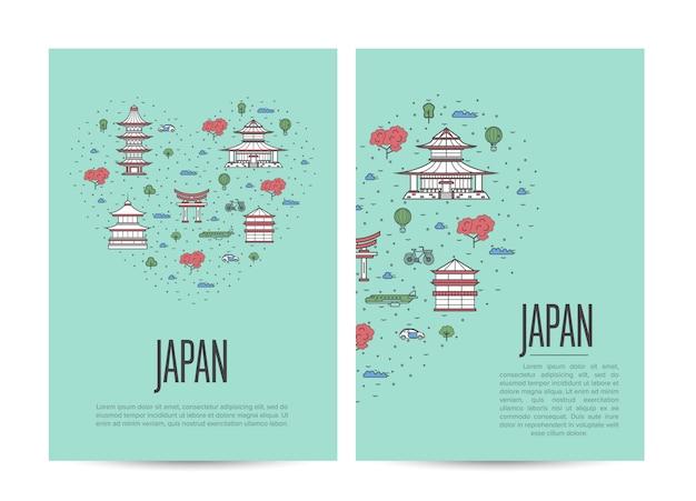 Japan-reisereisebroschüre im linearen stil Premium Vektoren