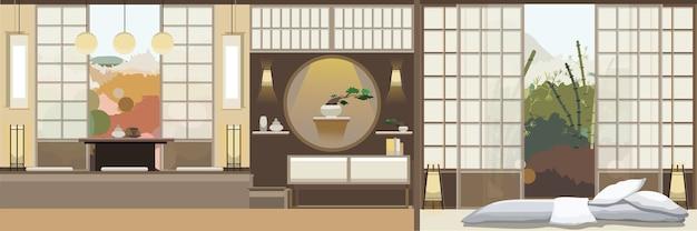Japan Stil Wohnzimmer Mit Mobeln Download Der Premium Vektor
