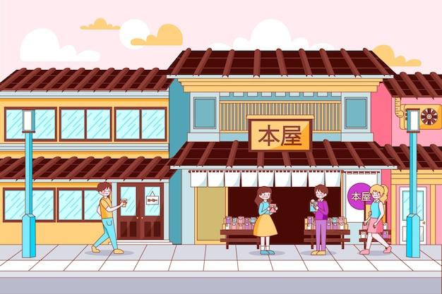 Japan traditionelle straße und geschäfte Kostenlosen Vektoren