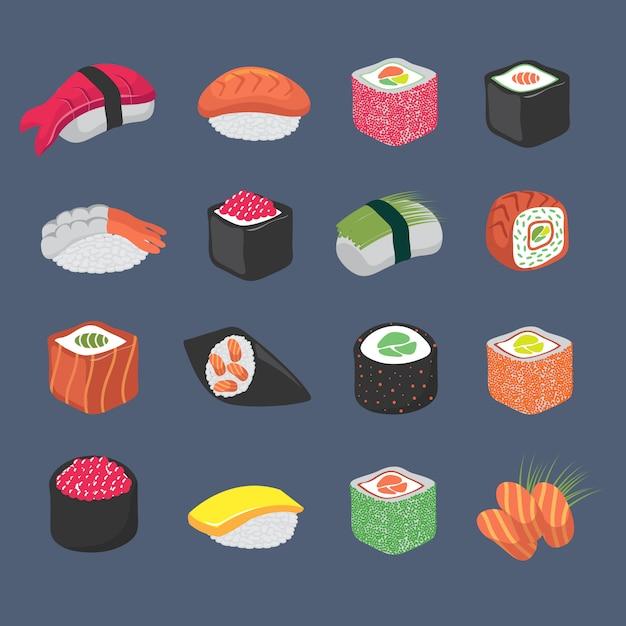 Japaner-küchenmeeresfrüchte-vektorsatz der karikatursushirollen japanischer Premium Vektoren