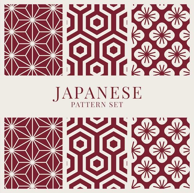 Japanisch-inspirierter mustervektorsatz Kostenlosen Vektoren