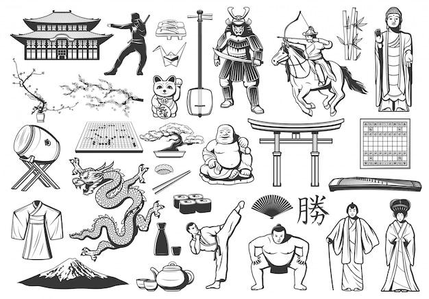 Japanische ikonen mit asiatischem essen, religion und kultur Premium Vektoren