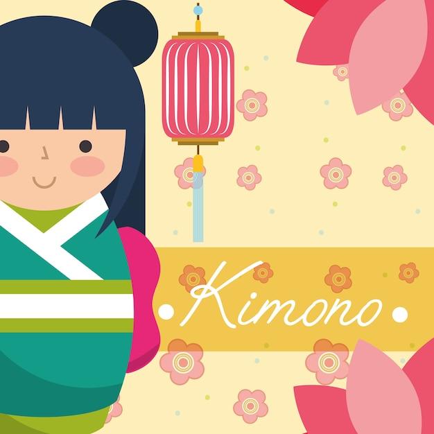 Japanische japanische puppe kokeshi in einem grünen kimono Premium Vektoren