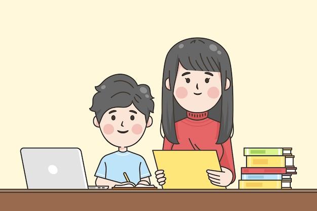 Japanische kinder helfen bei den hausaufgaben Kostenlosen Vektoren