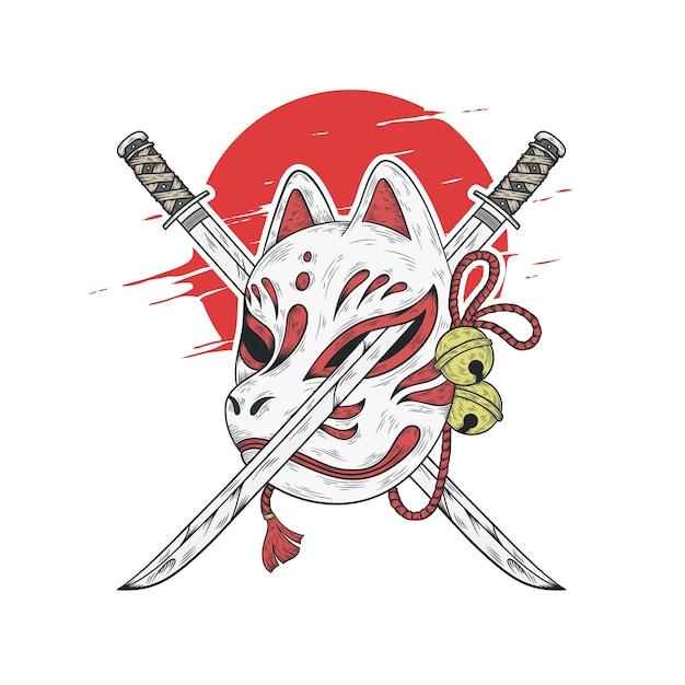 Japanische kitsune-maske und katana-schwertillustration Premium Vektoren
