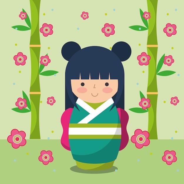 Japanische kokeshi puppe im kimono Premium Vektoren