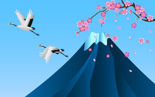 Japanische kräne fliegen über den fuji-berg Premium Vektoren