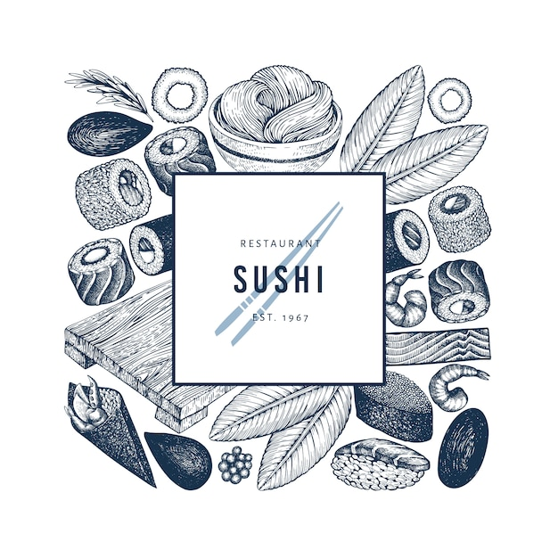 Japanische küche logo vorlage. gezeichnete vektorillustrationen der sushi hand. retro-stil Premium Vektoren
