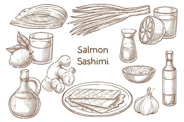 Japanische küche. salvon sashimi. zutaten. skizzieren Premium Vektoren