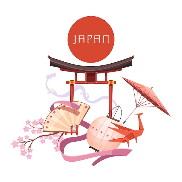Japanische kulturelemente einschließlich religiösem schrein sakura-origami des roten kreises auf retro- karikatur des weißen hintergrundes Kostenlosen Vektoren