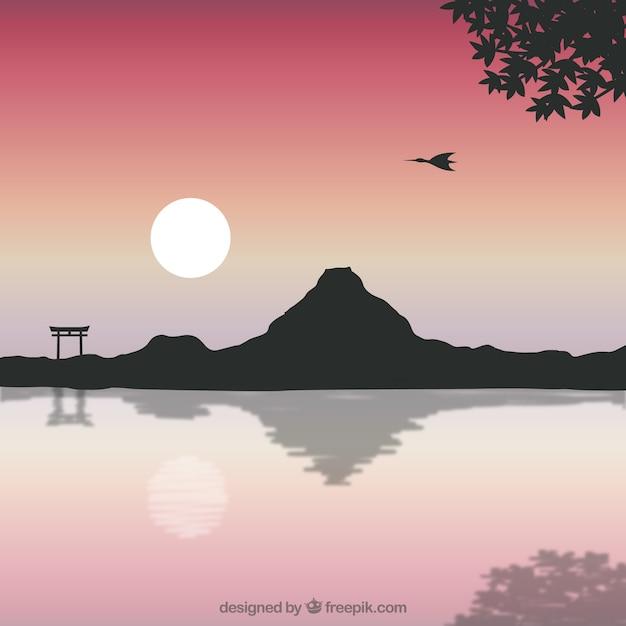 Japanische landschaft mit dem fujisan Kostenlosen Vektoren