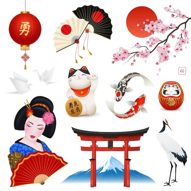 Japanische nationale symbole gesetzt Kostenlosen Vektoren