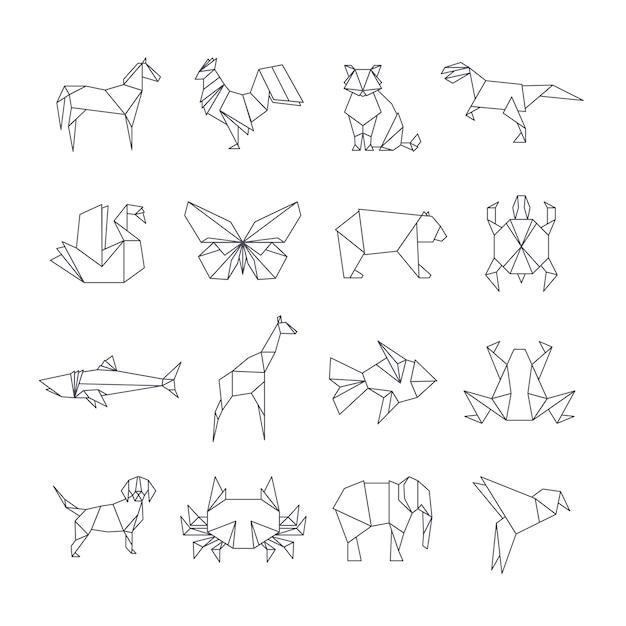 Japanische origamipapiertierlinie ikonen Premium Vektoren