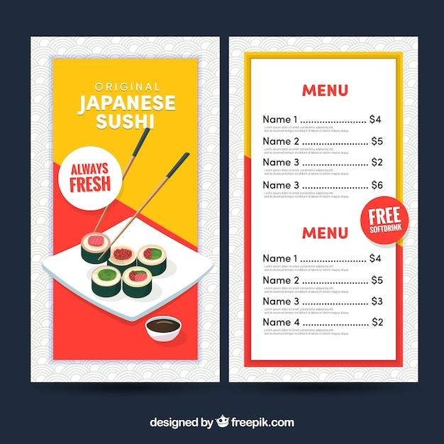 Japanische Restaurant Menüvorlage | Download der kostenlosen Vektor