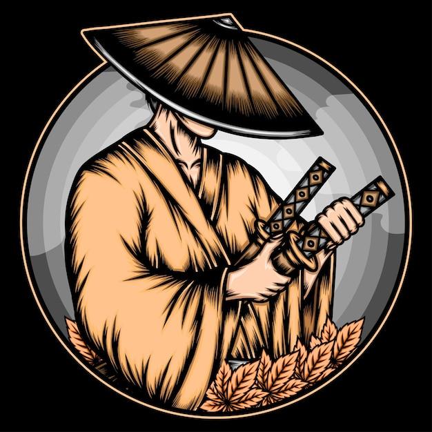Japanische roninillustration. Premium Vektoren