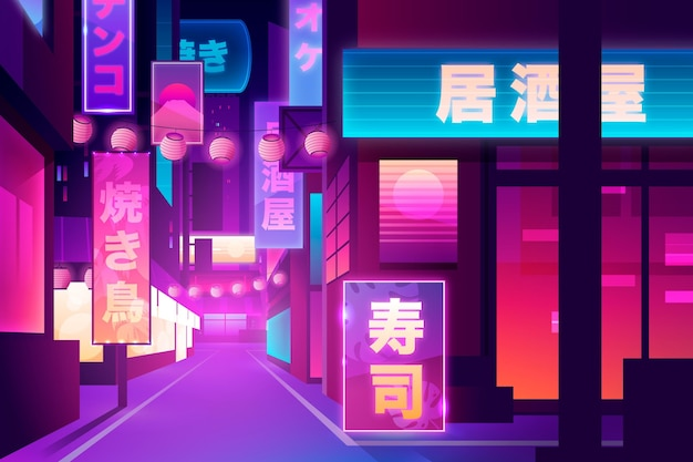 Japanische straße in neonlichtern Kostenlosen Vektoren
