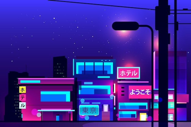 Japanische straßen-neonlichter in der nacht Kostenlosen Vektoren