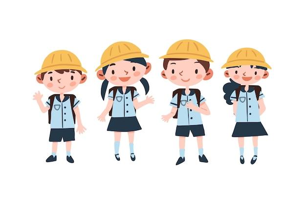 Japanische studenten in uniformen Kostenlosen Vektoren