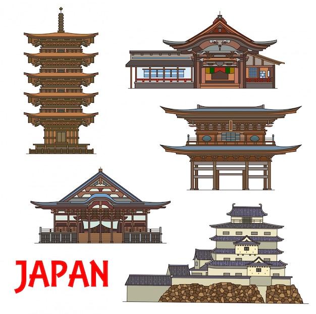 Japanische tempel und burg dünne linie reisen wahrzeichen japans. buddhistische tempel des dainichibo und horin-ji zen, das sanmon-tor von engaku-ji, die fünfstöckige pagode dewa sanzan und die burg tsuruga Premium Vektoren