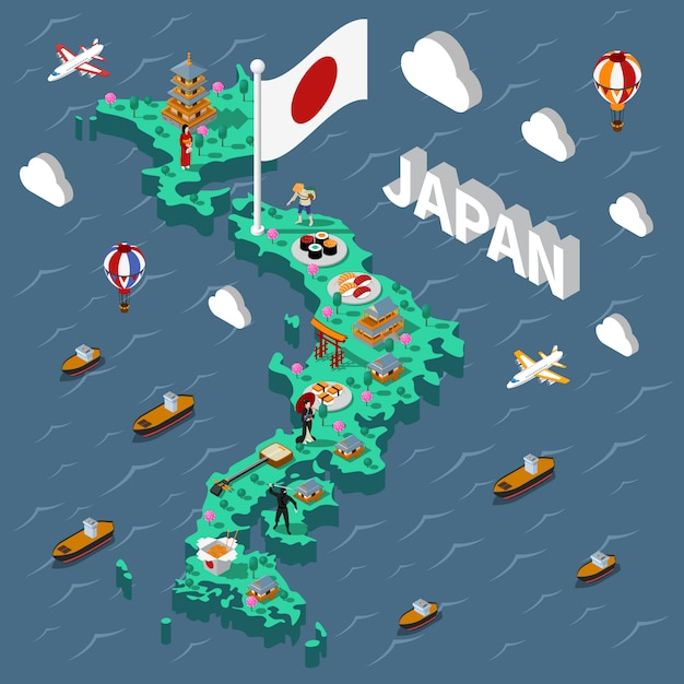Japanische touristische isometrische karte Kostenlosen Vektoren