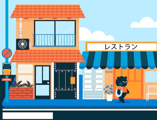 Japanische traditionelle straße mit charakteren Kostenlosen Vektoren