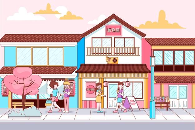 Japanische traditionelle straße mit menschen zu fuß Kostenlosen Vektoren