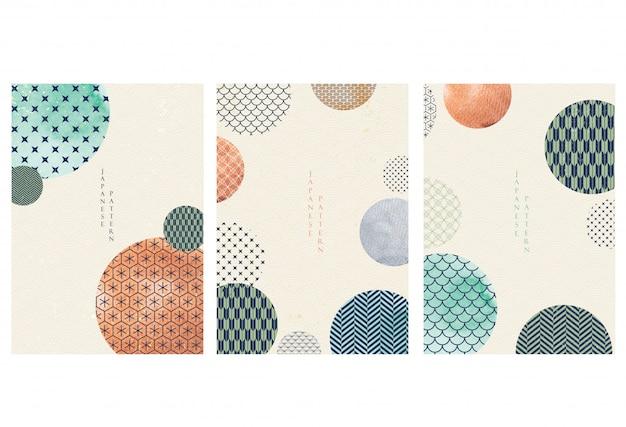 Japanische vorlage. geometrischer hintergrund. abstrakte elemente mit aquarellbeschaffenheitstapete im asiatischen stil. Premium Vektoren