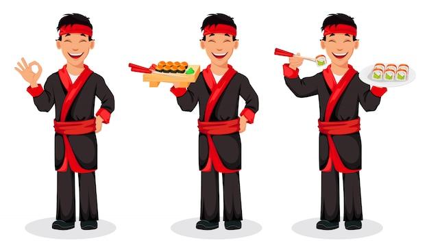 Japanischer chef, der sushirollen kocht Premium Vektoren
