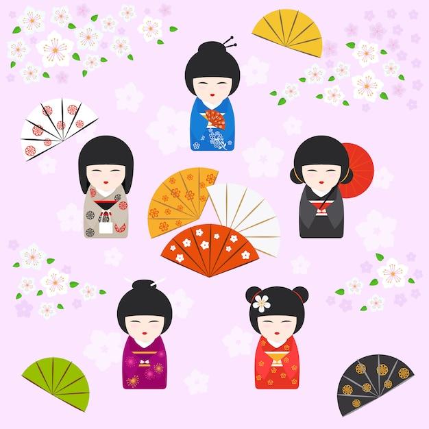 Japanischer geisha kokeshi puppenhintergrund Premium Vektoren