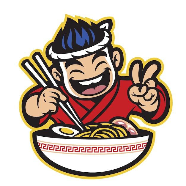 Japanischer karikaturkoch, der die ramen isst Premium Vektoren