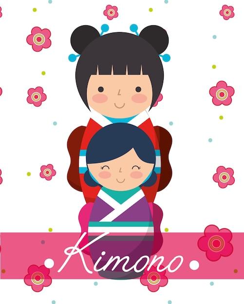 Japanischer kokeshi puppen kimono Premium Vektoren