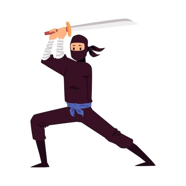 Japanischer ninja hält eine schwertwaffe und steht in kampfhaltung Premium Vektoren