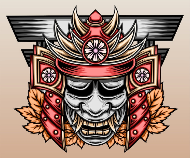 Japanischer samurai mit hannya-maske. Premium Vektoren
