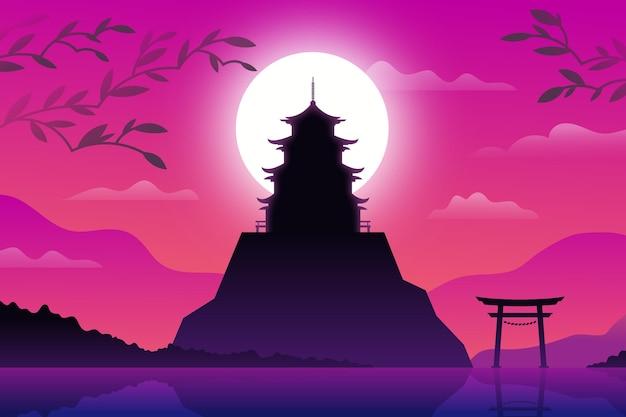 Japanischer tempel auf einem hügel Kostenlosen Vektoren