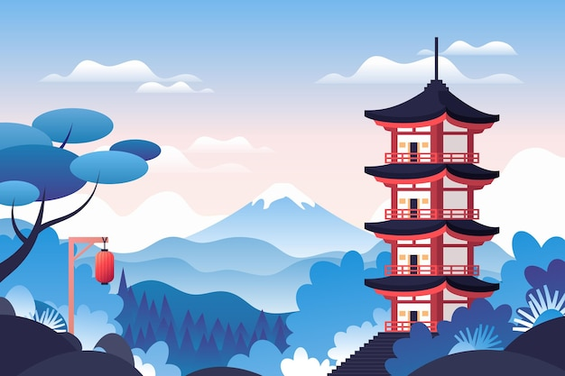 Japanischer tempel, umgeben von natur Kostenlosen Vektoren