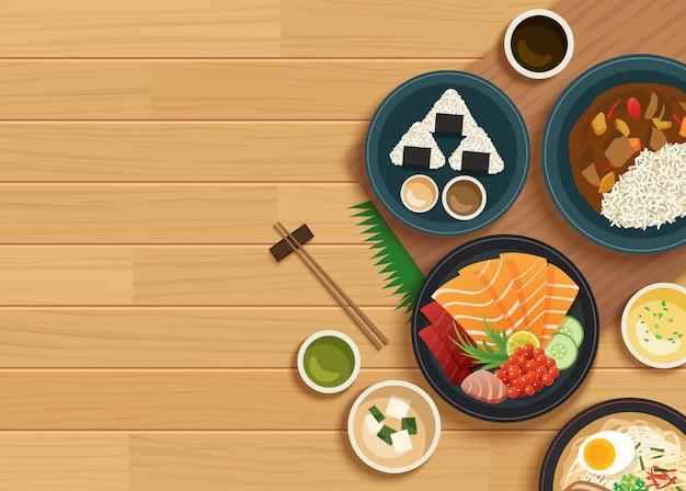 Japanisches essen auf holztisch der draufsicht Premium Vektoren