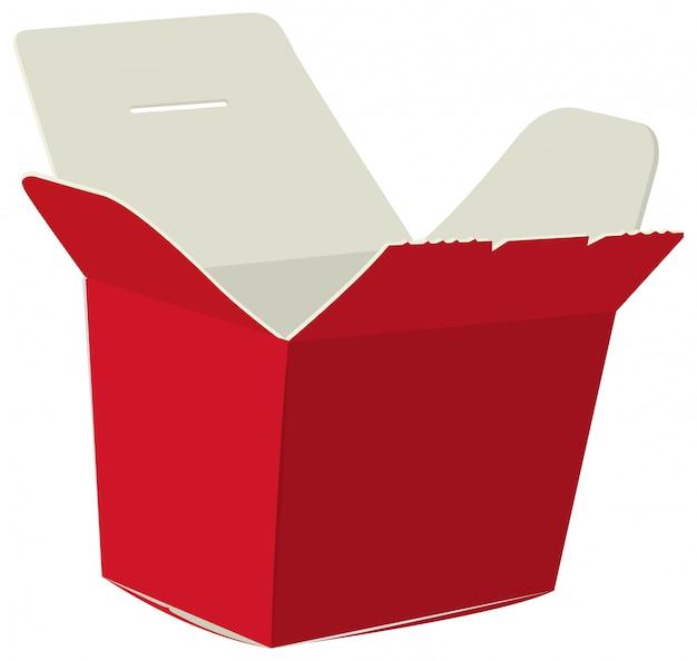 Japanisches essen box. roter offener kasten für nudel. pappkarton für sushi Premium Vektoren