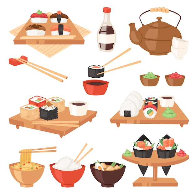 Japanisches essen essen sushi-sashimi-rolle oder nigiri und meeresfrüchte mit reis in japan-restaurantillustration japanisierungsküche mit essstäbchen gesetzt lokalisiert auf weißem hintergrund Premium Vektoren