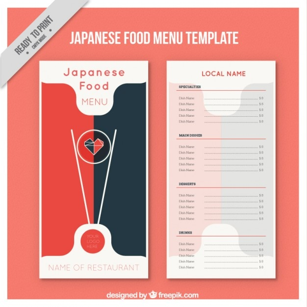 Japanisches essen menü-vorlage Kostenlosen Vektoren