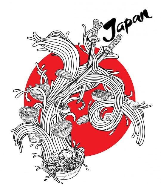Japanisches lebensmittel der von hand gezeichneten sammlung in der nudel Premium Vektoren