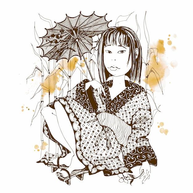 Japanisches mädchen im kimono mit regenschirm. Premium Vektoren