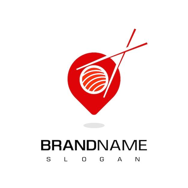 Japanisches restaurant-logo, sushi-platz-ikone mit zeiger und sushi-symbol Premium Vektoren