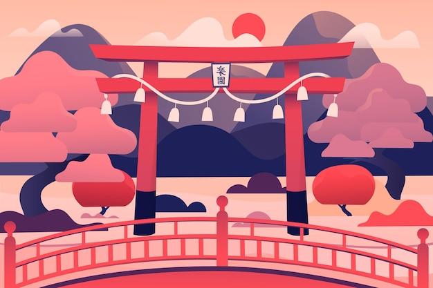 Japanisches torii-tor und rosa bäume Kostenlosen Vektoren